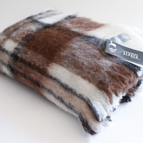 Brown, Black & While, Woven & Brushed Alpaca Throw image