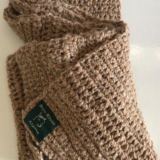Crocheted Alpaca Scarf - Natural Caramel image