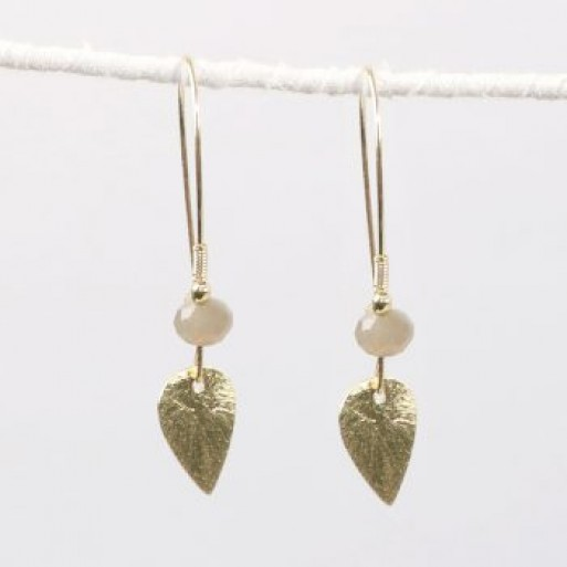 Leaf Earring with Cream Bead image