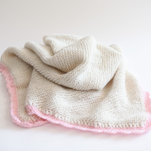 Alpaca Baby Shawl, Knitted - Natural with Pink Trim image