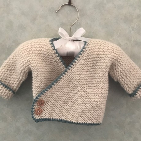 Alpaca Cross-Over Cardi Natural with Sage Trim image