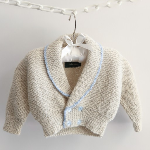 Roll Neck Cardigan with Blue Trim image