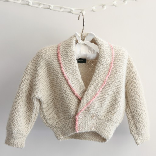 Roll Neck Cardigan with Pink Trim image