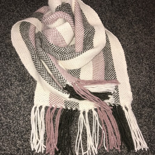 Woven 100% Alpaca Scarf - Slate/Rose//Natural image