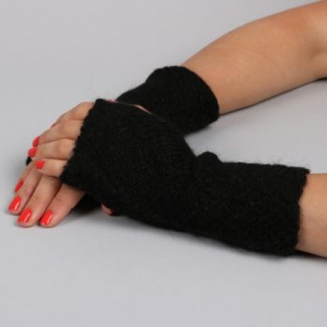 Short Black Fingerless Alpaca Gloves image