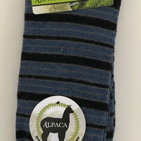 New Zealand Alpaca Socks Black & Blue Striped image